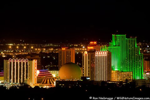 The skyline of downtown Reno Nevada.