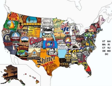 mapa cervejas eua